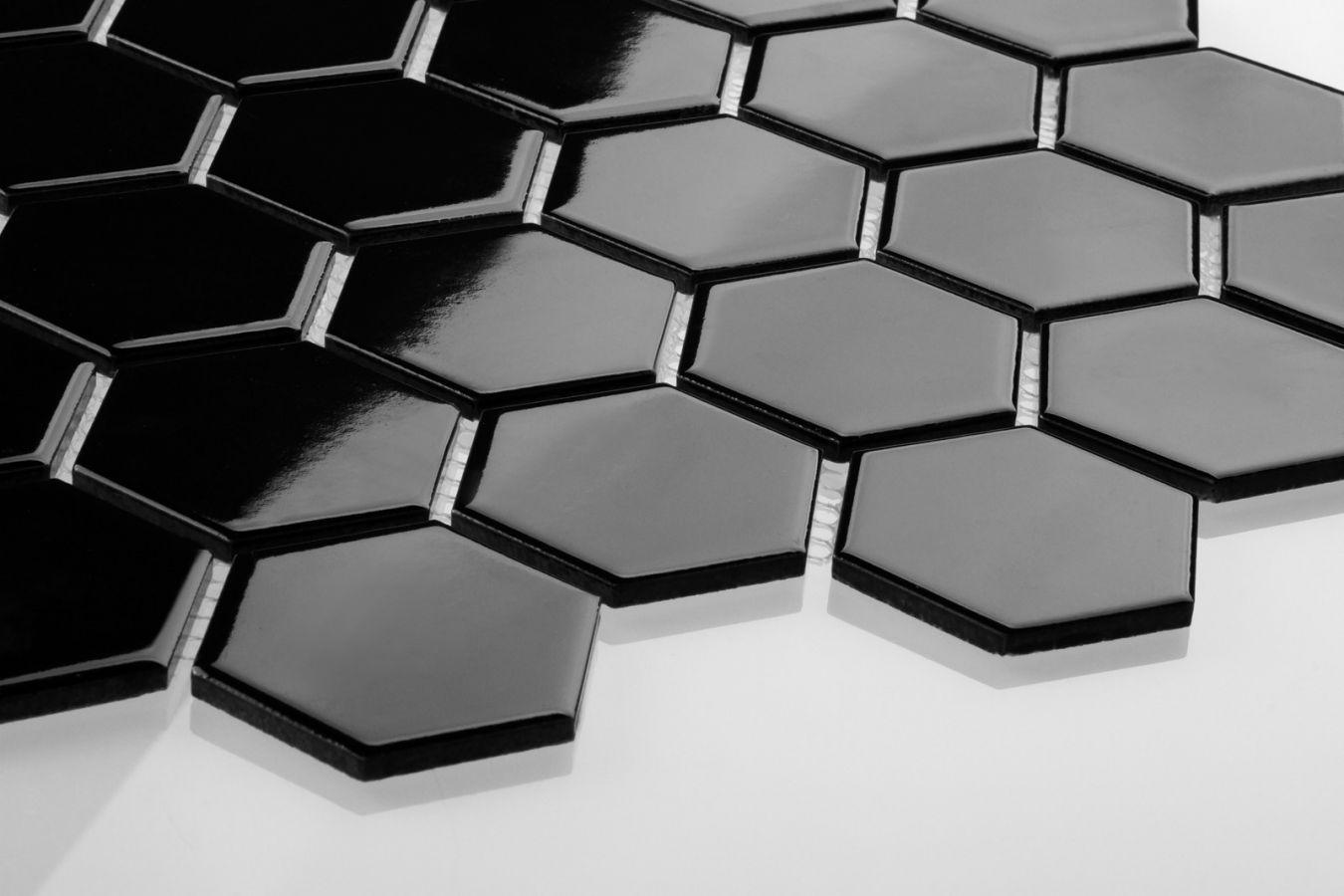 Große glänzende Mosaikfliesen Hexagon