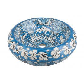 Lorena - Blaues rundes mexikanisches Keramikbecken