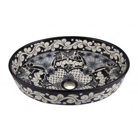 Serena - Mexikanisches Waschbecken in Schwarz und Weiß