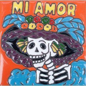 Catrina 9 – Handbemalte Fliese aus Mexiko