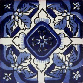 Oscuro - Bemalte Mexikanische Fliesen in Blau