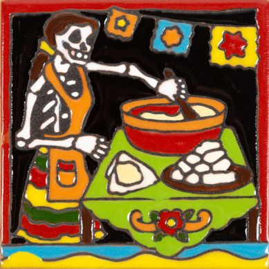 Cocinero - Catrina-Serie - mexikanische Dekorfliesen mit Relief