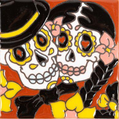 Pareja - Catrina-Serie - mexikanische Talavera Fliesen - ein Stück