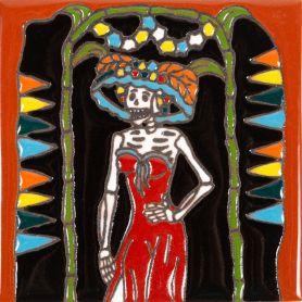 Belleza - Catrina-Serie - mexikanische Talavera Fliesen - ein Stück