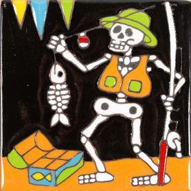 Pescador - Catrina-Serie - mexikanische Talavera Fliesen - ein Stück