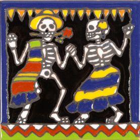 Baile - Catrina-Serie - mexikanische Talavera Fliesen - ein Stück
