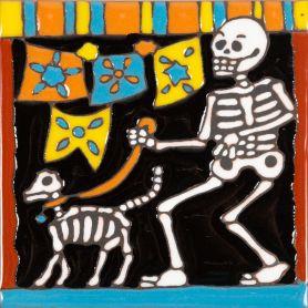 Perro - Catrina-Serie - mexikanische Talavera Fliesen - ein Stück
