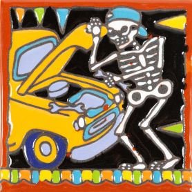 Mecánico - Catrina-Serie - mexikanische Talavera Fliesen - ein Stück