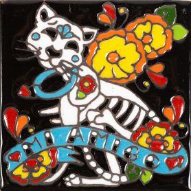 Gato - Catrina-Serie - mexikanische Talavera Fliesen - ein Stück