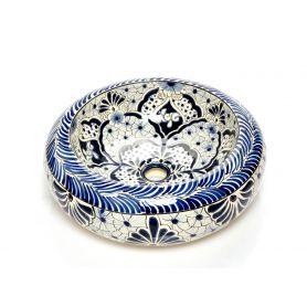 Allegria - Blaues mexikanisches rundes Keramikbecken