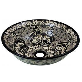 Serena - Mexikanisches Keramik Waschbecken in Schwarz