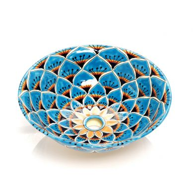 Casandra - Mexikanisches türkises Keramik Waschbecken