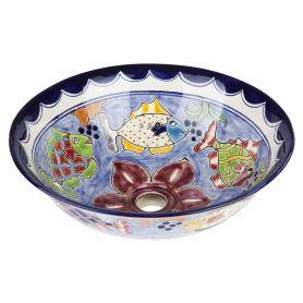 Delmar - Mexikanisches Waschbecken aus Keramik in Blau