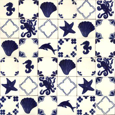 Mariscos - Talavera patchwork aus Mexiko