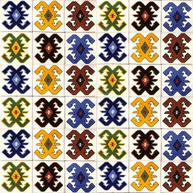 Hucul - Mexikanischer Keramikziegel mit Hutsul-Muster - 30 Stück