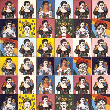 Fridas - Farbiges Patchwork im Pop-art Stil