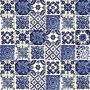 Azul luz - patchwork aus mexikanischen talavera-platten - 30 Stück