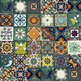Verde - bunte patchwork mit mexikanischen tellern - 30 st