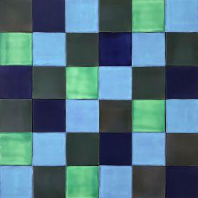 Malaquita - Patchwork aus einfarbigen Fliesen - 90 Stück, 1 m2