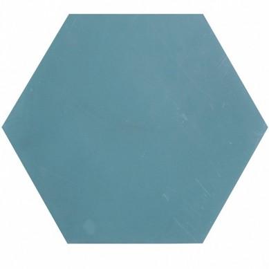 Hexagonale einfarbige Zementfliesen - Blau