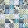 Patchwork - Blaue Premium Zementfliesen